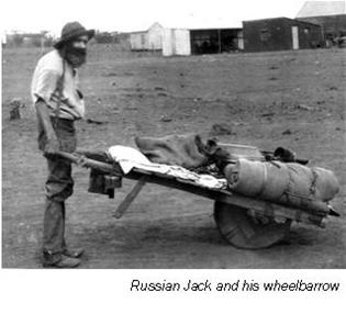 Russian Jack and his wheelbarrow